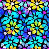 Abstract psychedelic beautiful flower seamless background Stock Illustration
