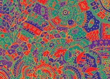 Abstract psychedelic boho tribal colorful doodle background. Cartoon ink graphic artwork. Vector illustration stock illustration