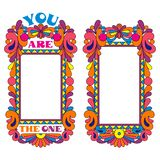 Abstract colorful psychedelic border, declaration of love. Abstract colorful psychedelic border, picture frame, declaration of love royalty free illustration