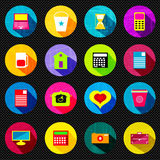 Abstract psychedelic colored icons with shadow beautiful collection Stock Images