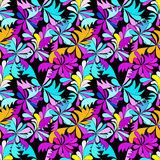 Abstract psychedelic graffiti flowers seamless background Royalty Free Stock Photos