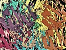 Abstract psychedelic grunge background from color chaotic blurred stains brush strokes of different sizes.  stock illustration