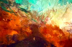 Abstract psychedelic grunge background graphic stylization on a textured canvas of chaotic blurry strokes and strokes of paint.  stock images