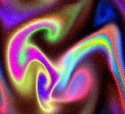 Abstract Psychedelic hypnotic neon bright colours. Abstract psychedelic hypnotic neon galaxy of pink, yellow, blue, orange swirling colours. illustration royalty free illustration
