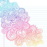 Abstract Psychedelic Notebook Doodles. Groovy Psychedelic Flower Outline Doodles Design Element on Lined Sketchbook Paper Background- Vector Illustration Royalty Free Stock Image