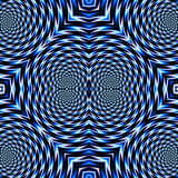 Abstract psychedelic rotating blue background of circular concentric shapes. Blue and white abstract rotating and vibrating pattern Royalty Free Stock Photos