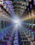 Abstract psychedelic tunnel. With light Stock Image