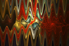 Abstract psychedelic waves on black background. Stock Images