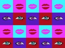 Abstract psychedelisch helder kleurrijk patroon met hand getrokken ogen en geplaatste lippenillustraties stock illustratie