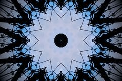 Abstract pulley shape mandala. Blue, white and black mandala. Pulleys forming twelve sided star shape Stock Image