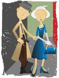 Abstract Pulp Fiction Couple accented by grunge. Cartoon detective and dame posing in pulp fiction dime store novel style royalty free illustration