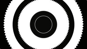 Abstract pulsating circles or radio waves of black, white, and red color. Animation. Seamless loop signals o flashing