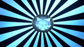 Abstract pumpkin head over sunburst in blue stock video footage