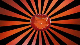 Abstract pumpkin head over sunburst in orange stock footage