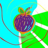 Abstract purple Apple background a , drawn with ink strokes. The fruit of smears, lines, strokes.  royalty free illustration