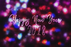Abstract purple bokeh New year 2018 background. Modern simple flat sign. Trendy  decoration symbol for website. Design Royalty Free Stock Images