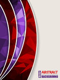 Abstract purple brochure with light and dark polygons and red tr Stock Image