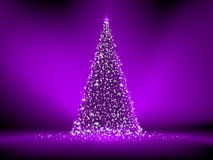 Abstract Purple Christmas Tree On Purple. EPS 8 Royalty Free Stock Photos