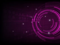Abstract purple circle digital technology background, futuristic structure elements concept background. Design Royalty Free Stock Photography