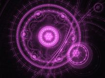 Abstract purple clockwork. Fractal - Abstract purple clockwork and black background Stock Photography