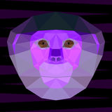 Abstract purple colored polygonal geometric red-shanked douc langur portrait for use in design Royalty Free Stock Photos