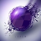 Abstract purple contemporary frame with geometric splashes Royalty Free Stock Photos