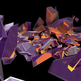 Abstract purple debris with an orange back light. On black stock illustration