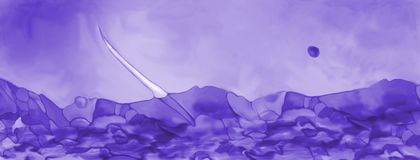 Abstract purple fantasy seascape. Abstract digital painted purple fantasy seascape with rocks and ocean sailboat digital illustration Stock Photo
