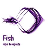 Abstract fish logo template on a white background. Abstract purple fish logo template on a white background Stock Photography