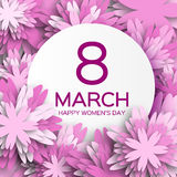 Abstract Purple Floral Greeting card - International Happy Women's Day - 8 March holiday background. With paper cut Frame Flowers. Happy Mother's Day. Happy Royalty Free Stock Photography