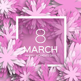 Abstract purple Floral Greeting card - International Happy Women's Day - 8 March holiday Stock Photos