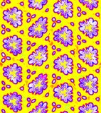 Abstract purple floral pattern on yellow background, Violet flower texture, Seamless illustration royalty free illustration