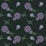 Abstract purple flowers. On a green background stock illustration