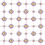 Abstract Purple Flowers & Plaid background Stock Photography