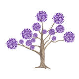 Abstract Purple Flowers on Tree Royalty Free Stock Images