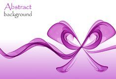 Abstract purple gift bow made of transparent ribbons. On a white and purple background Royalty Free Stock Photo