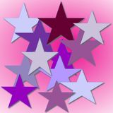 Abstract Purple and Gray Stars. Beautiful graphic design of purple and gray stars on pink background. Fun abstract design Royalty Free Stock Photography