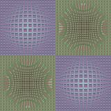 Abstract purple and green vector background with deformed grid in optical art style, 3d effect illusion Royalty Free Stock Image