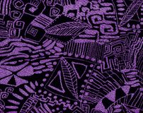 Abstract purple pattern. Background with representational motives , curves and geometrical lines Royalty Free Stock Photography