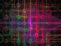 Abstract pattern with circles - digitally generated image. Abstract purple pattern with glowing circles and grid - computer-generated image. Fractal artwork for vector illustration