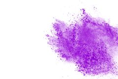 Colored powder explosion. Colore dust splatted. Abstract purple powder explosion on white background. abstract colored powder splatted, Freeze motion of royalty free stock photo