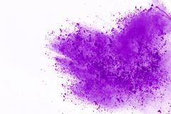 Colored powder explosion. Colore dust splatted. Abstract purple powder explosion on white background. abstract colored powder splatted, Freeze motion of stock photos