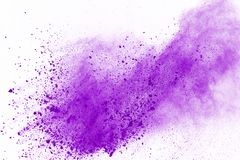 Colored powder explosion. Colore dust splatted. Abstract purple powder explosion on white background. abstract colored powder splatted, Freeze motion of stock photo