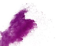 Abstract purple powder explosion on white background. abstract colored powder splatted, Freeze motion of violet powder exploding. Violet dust splatted royalty free stock photos