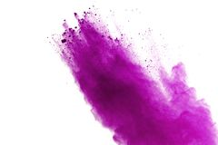 Abstract purple powder explosion on white background. abstract colored powder splatted, Freeze motion of violet powder exploding. royalty free stock photography
