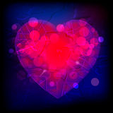 Abstract purple and red heart. Illustration of purple and red colored heart on blue abstract background royalty free illustration