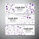 Abstract Purple Science background with molecules. Vector banners set background. Stock Photos