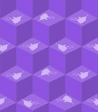 Abstract purple seamless background with cube patterns white splashes in optical art style, 3d effect illusion. Vector EPS 10 royalty free illustration