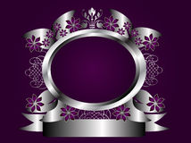 Abstract Purple and Silver Floral Frame Royalty Free Stock Photos