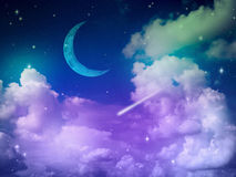 Abstract purple Sky with Cloud and Moon. Colorful fantasy night sky with cloud and moon, abstract science background Royalty Free Stock Image